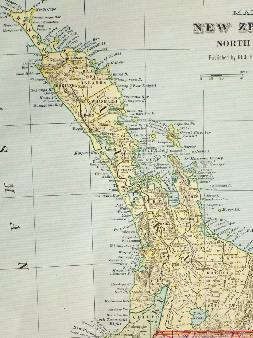 Map of New Zealand, North Island, 1902 - 4