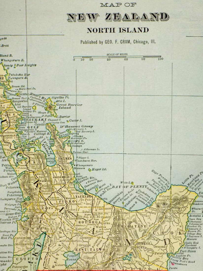 Map of New Zealand, North Island, 1902 - 5