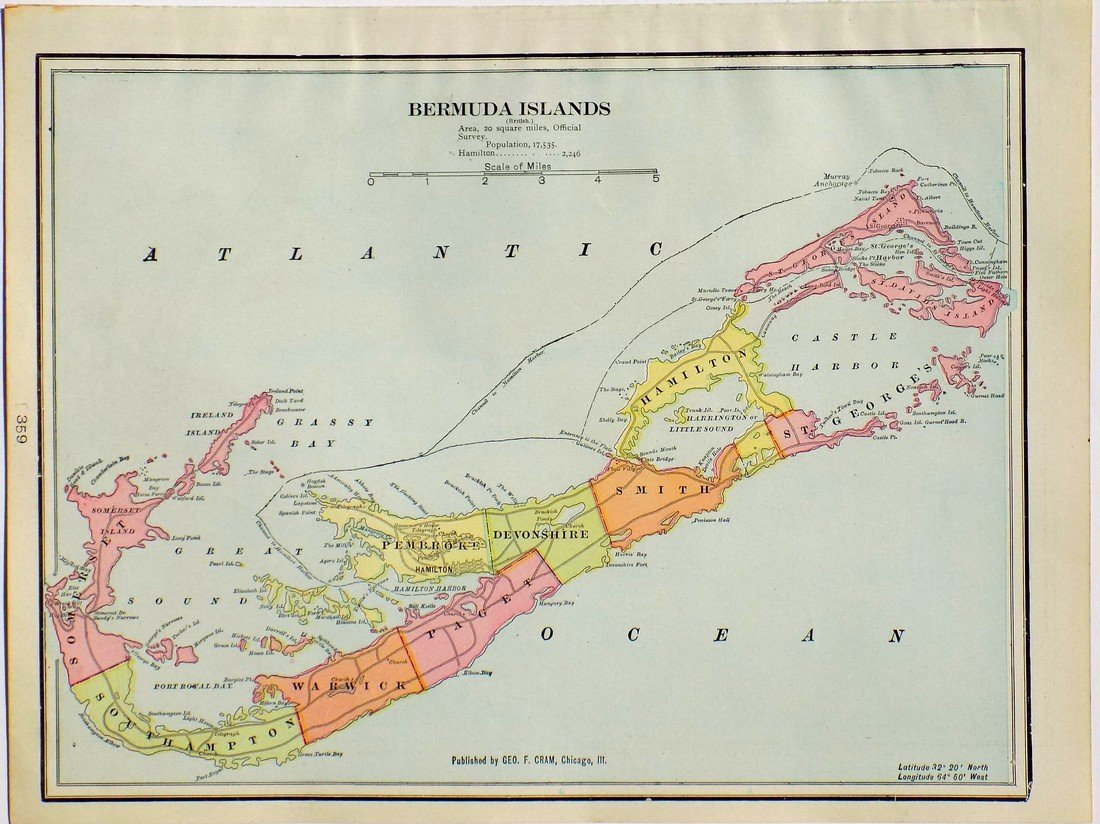 Map of Bermuda Islands, 1902