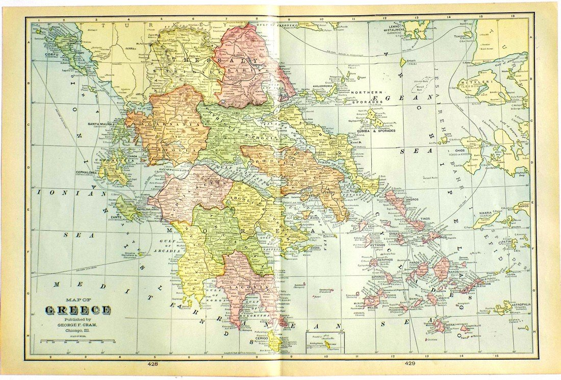 Map of Greece, 1902