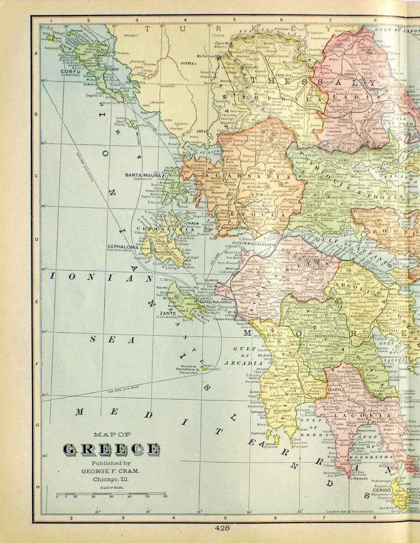 Map of Greece, 1902 - 3