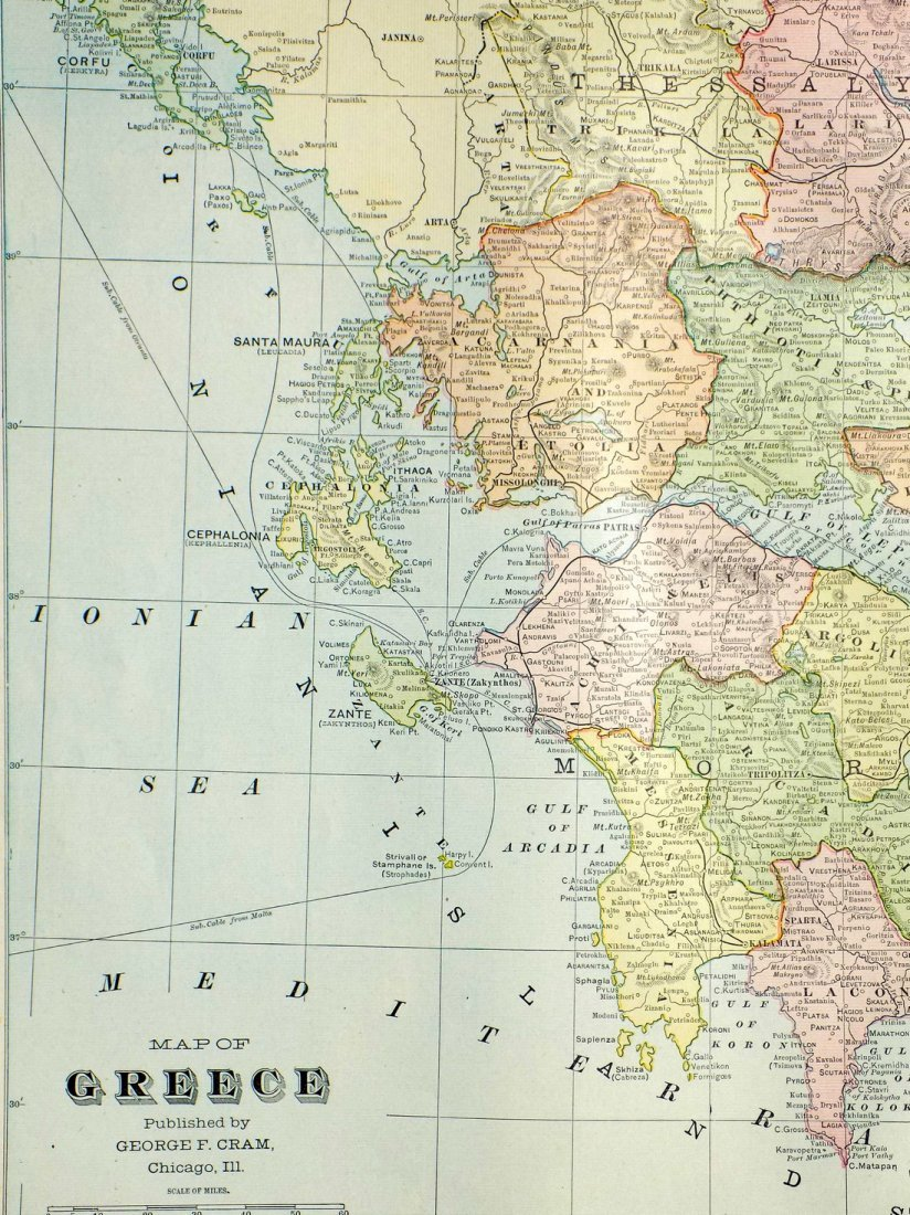 Map of Greece, 1902 - 4