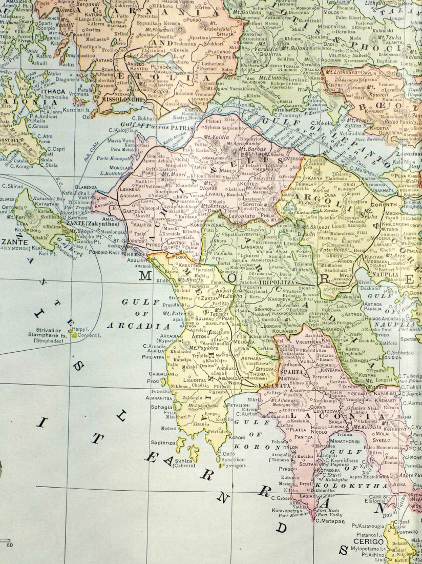 Map of Greece, 1902 - 6