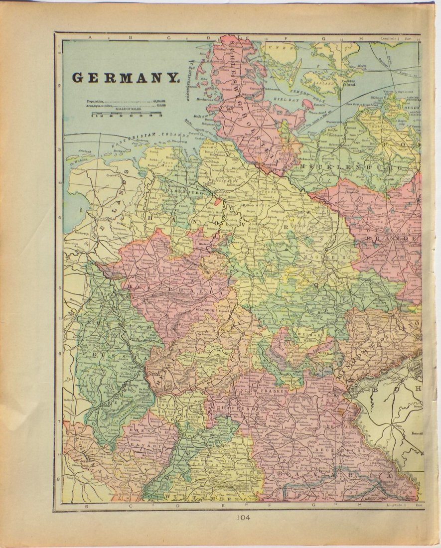 Map of Germany, 1902