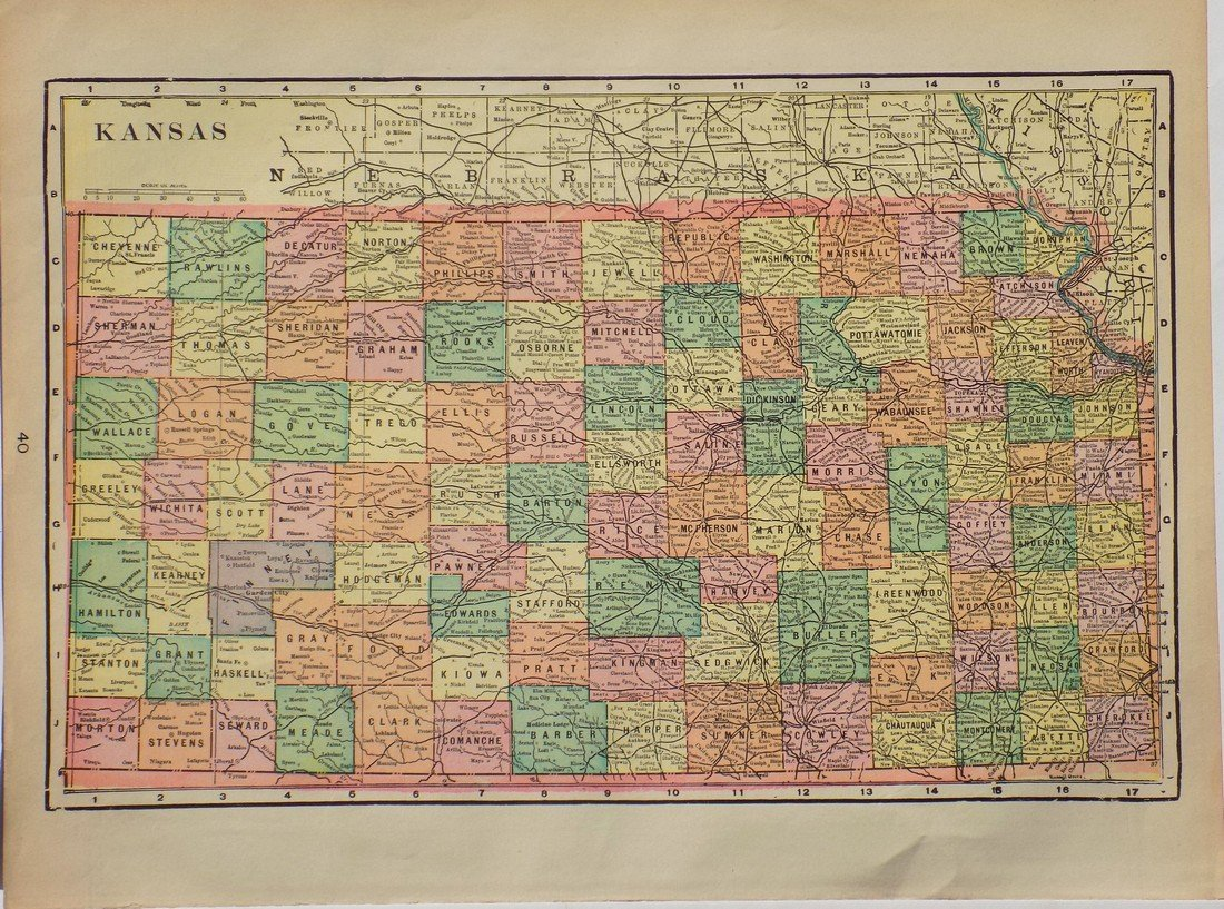 Map of Kansas, 1902