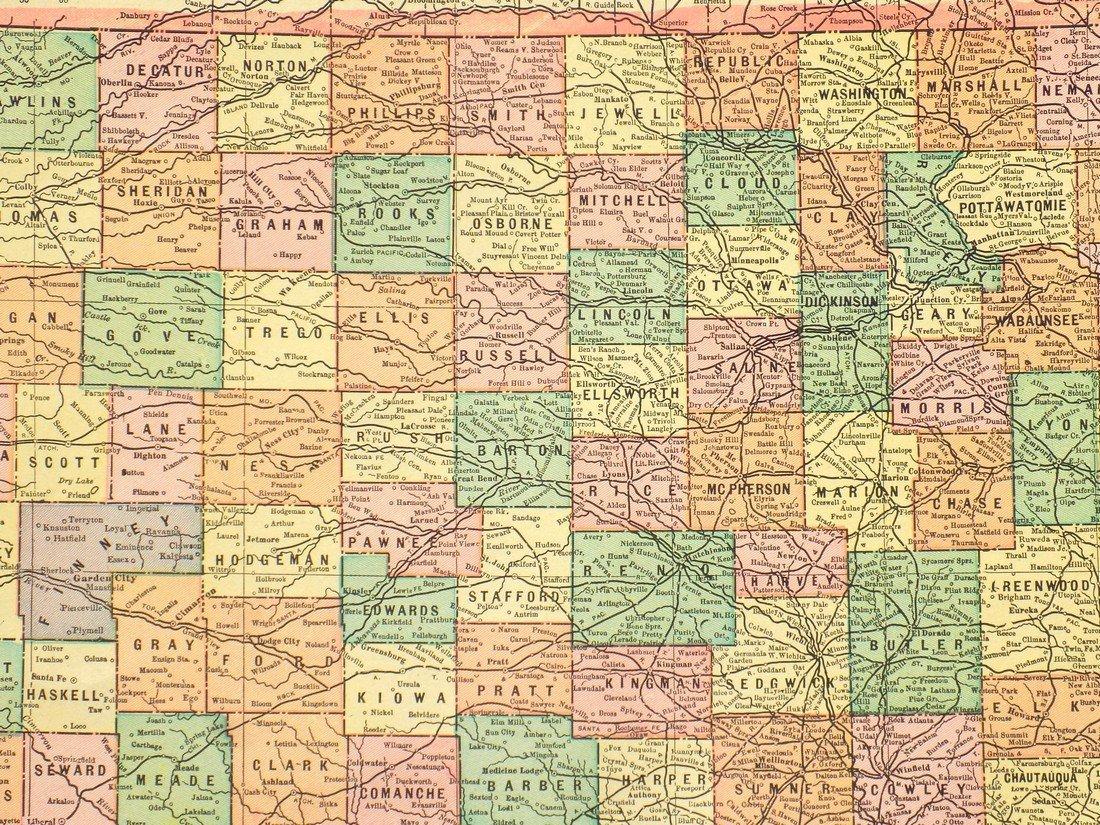 Map of Kansas, 1902 - 3