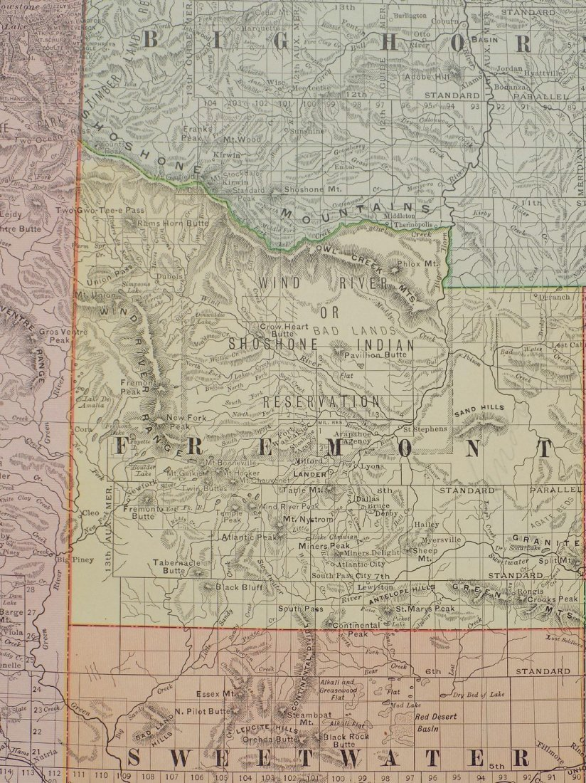 Map of Wyoming, 1895 - 7