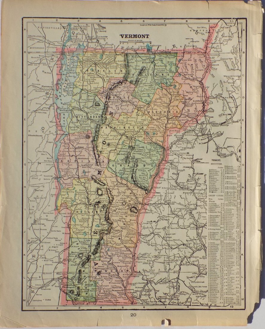 Map of Vermont, 1902