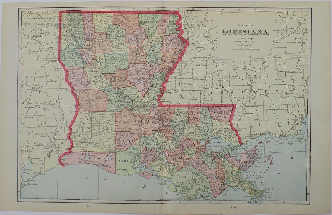 Map of Louisiana, 1902