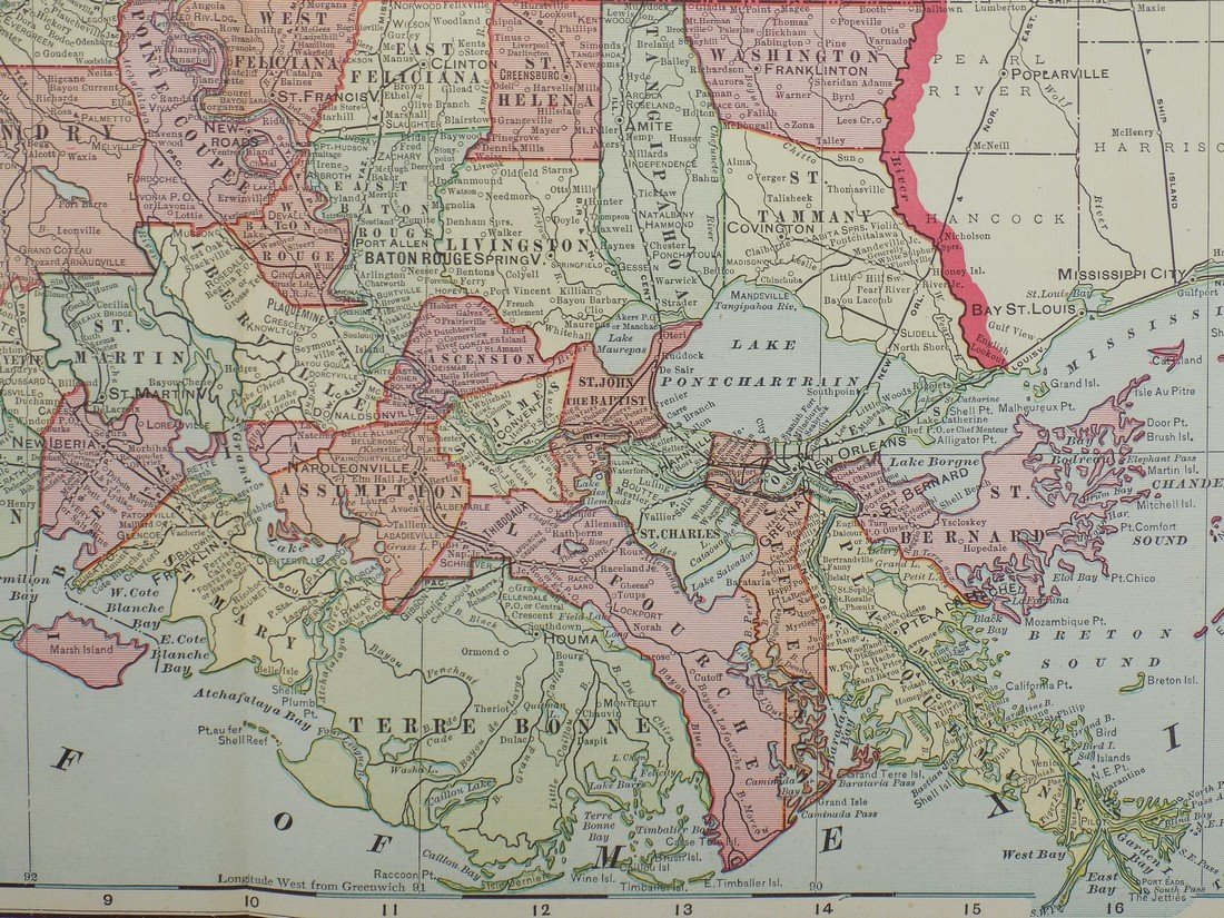 Map of Louisiana, 1902 - 5