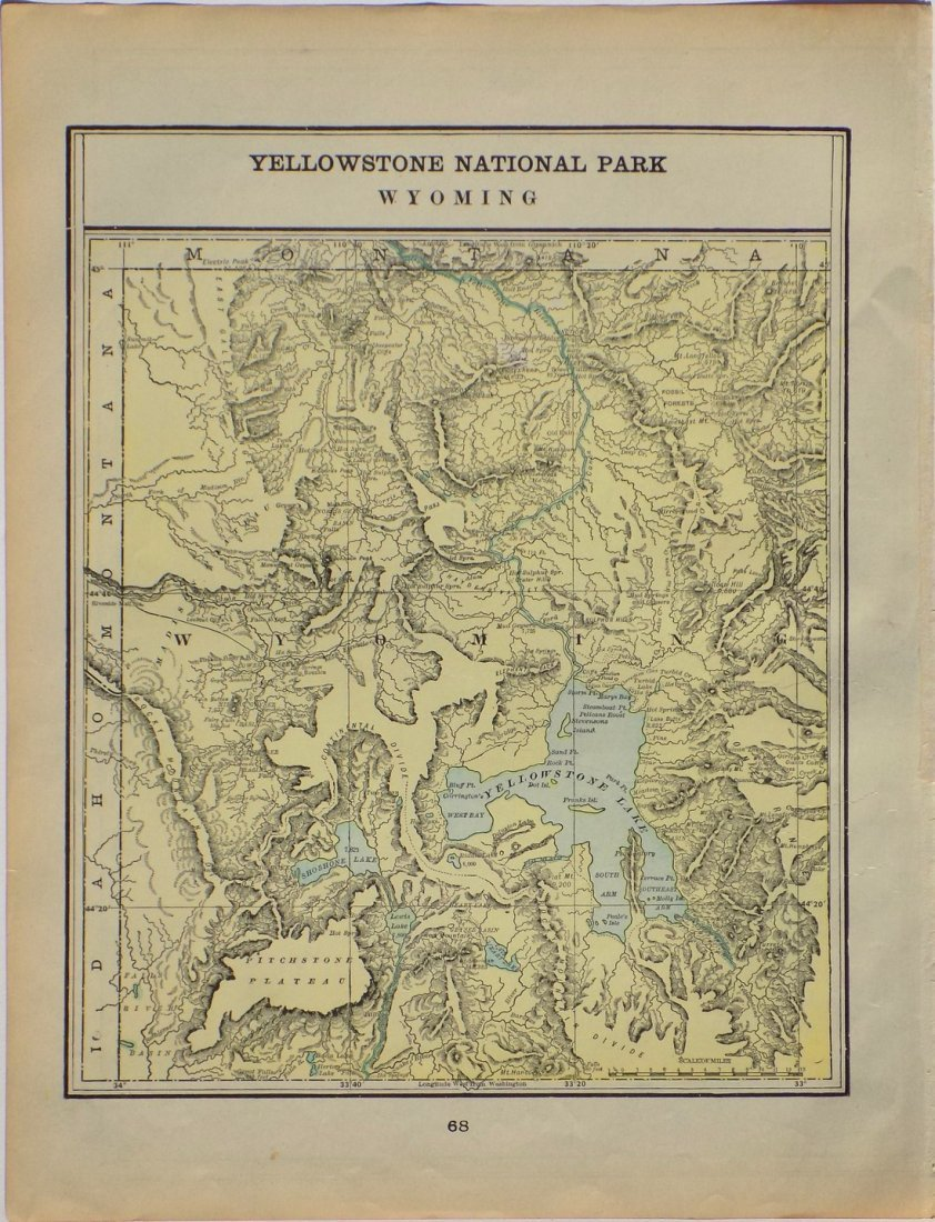 Map of Yellowstone National Park, Wyoming, 1902