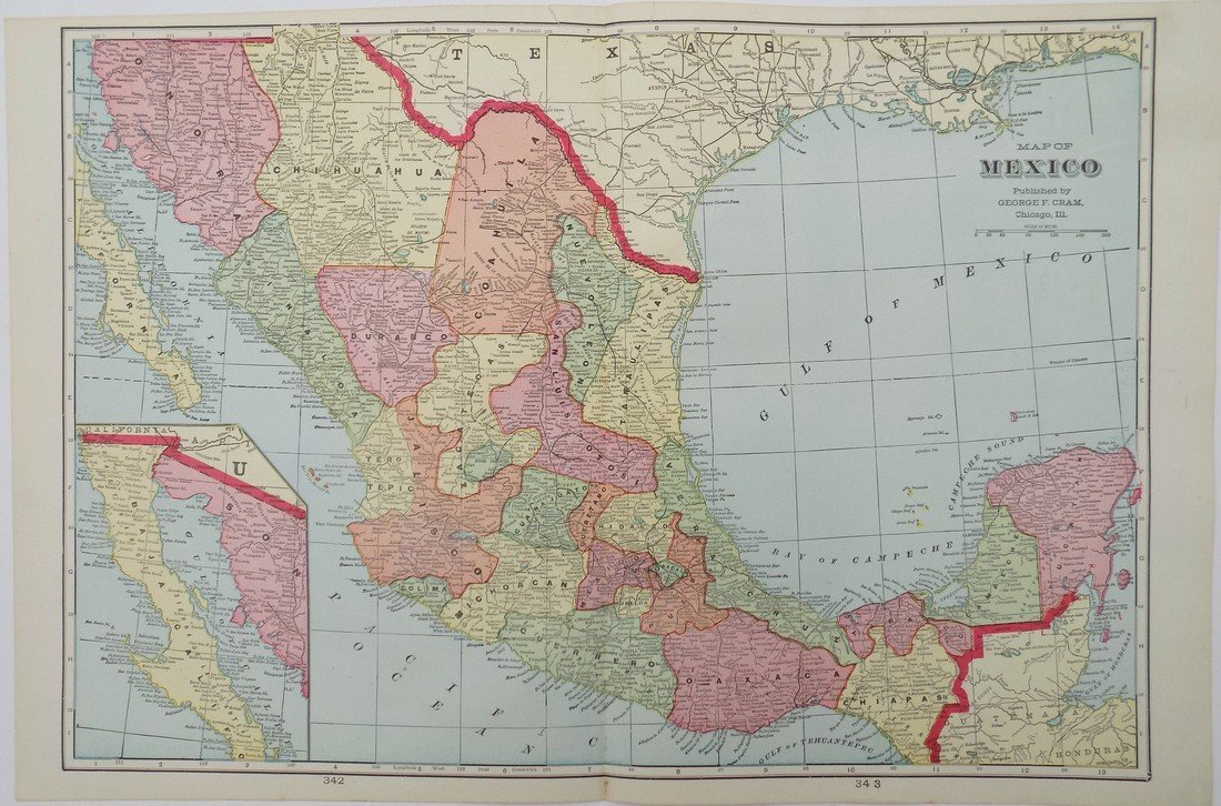 Map of Mexico, 1902
