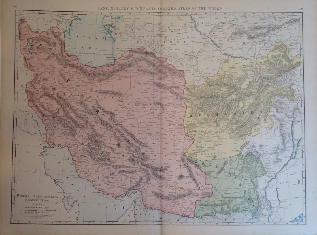 Map of Persia, Afghanistan, and Baluchistan
