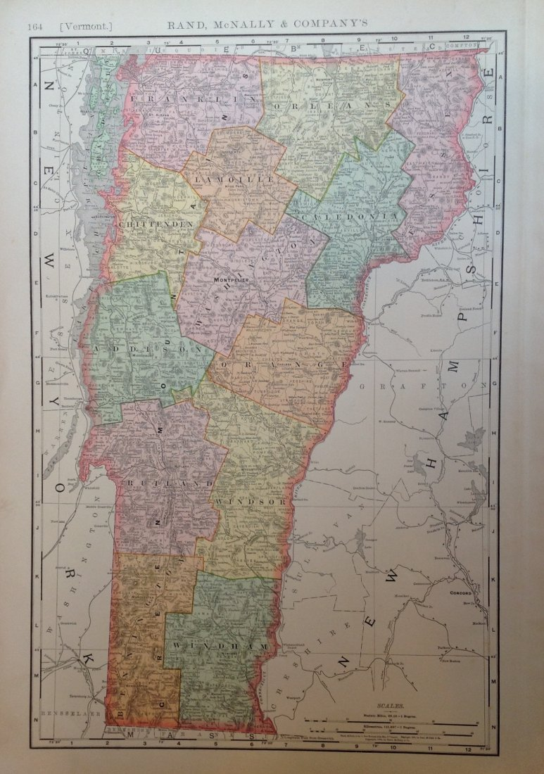 Map of Vermont, 1898