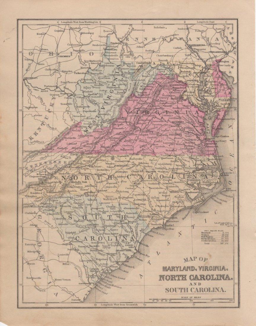 Map of Maryland, Virginia, North & South Carolina