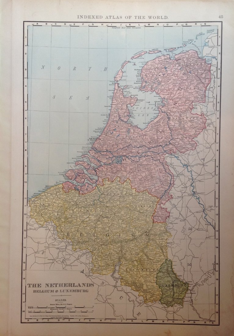 Map of The Netherlands, Belgium, and Luxemburg