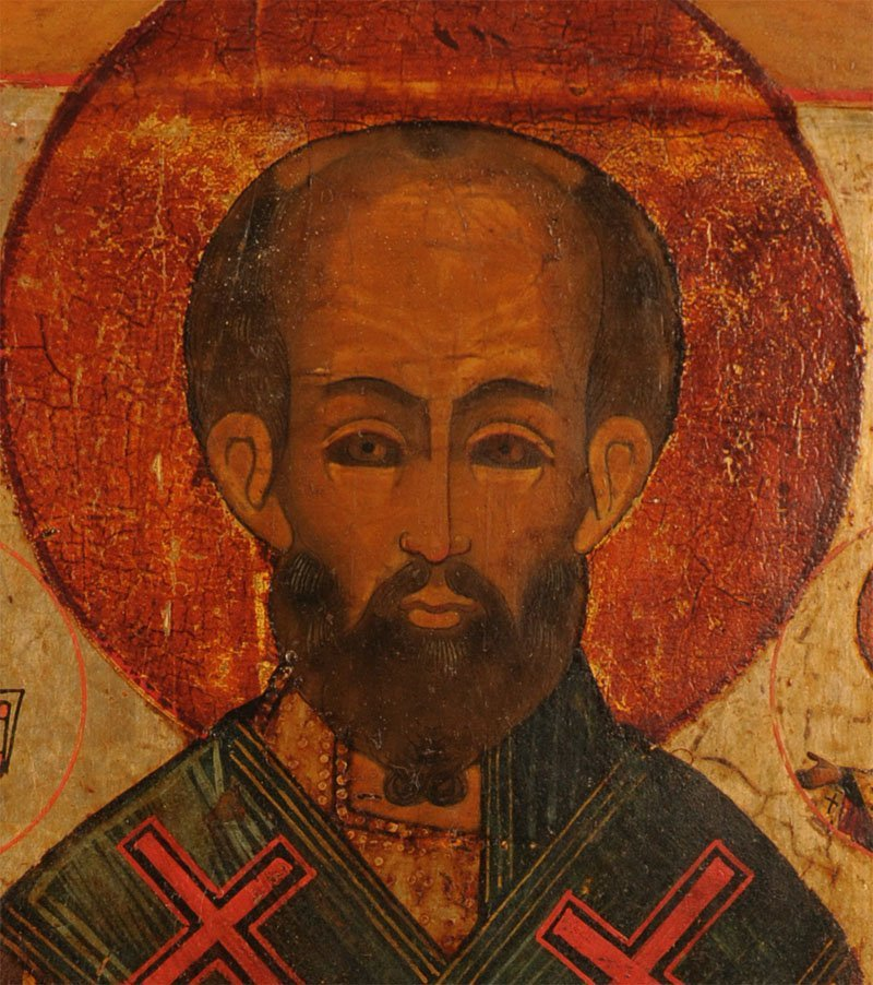 Russian Icon: Saint Nicholas of Myra with Gospels - 2