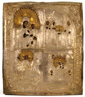 Russian Four Panel Icon: Our Lady of Tikhvin
