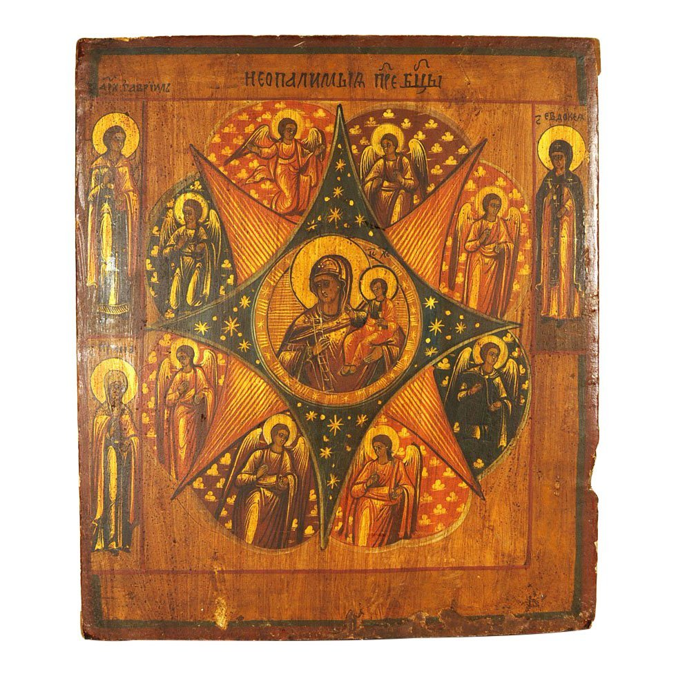 Russian Icon: Our Lady of the Unburnt Bush