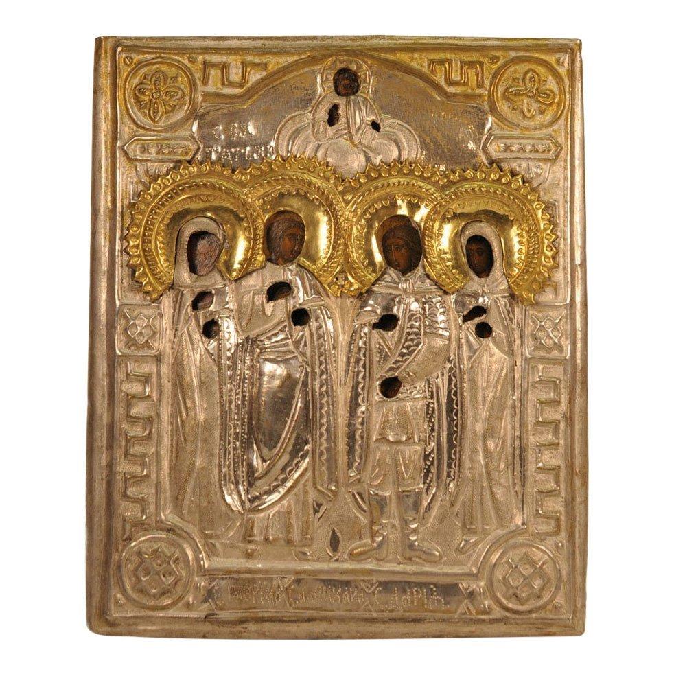 Russian Oklad Icon: Four Saints