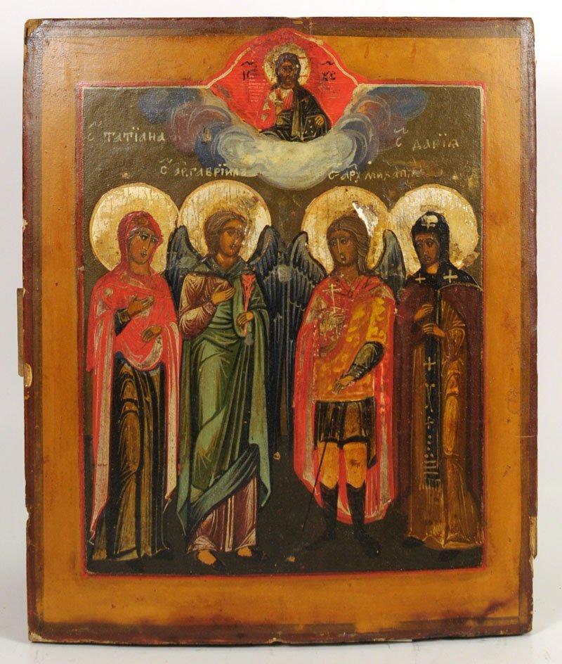 Russian Oklad Icon: Four Saints - 2