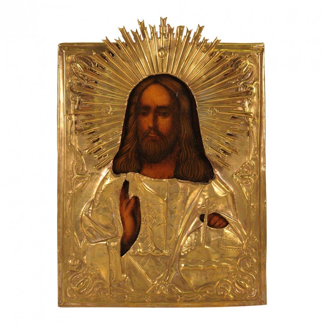 Russian Oklad Icon: Christ Emmanuel