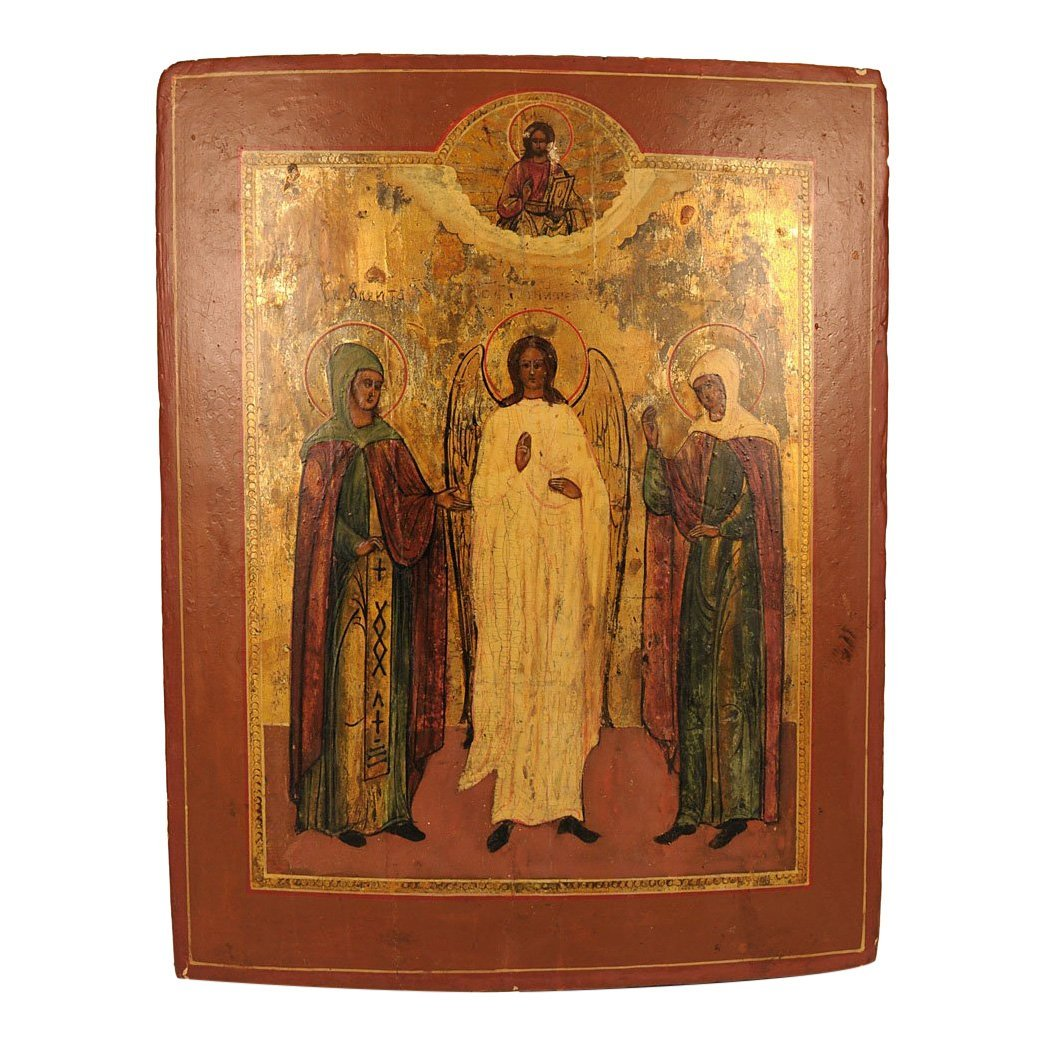 Russian Icon: Guardian Angel and Two Female Saints