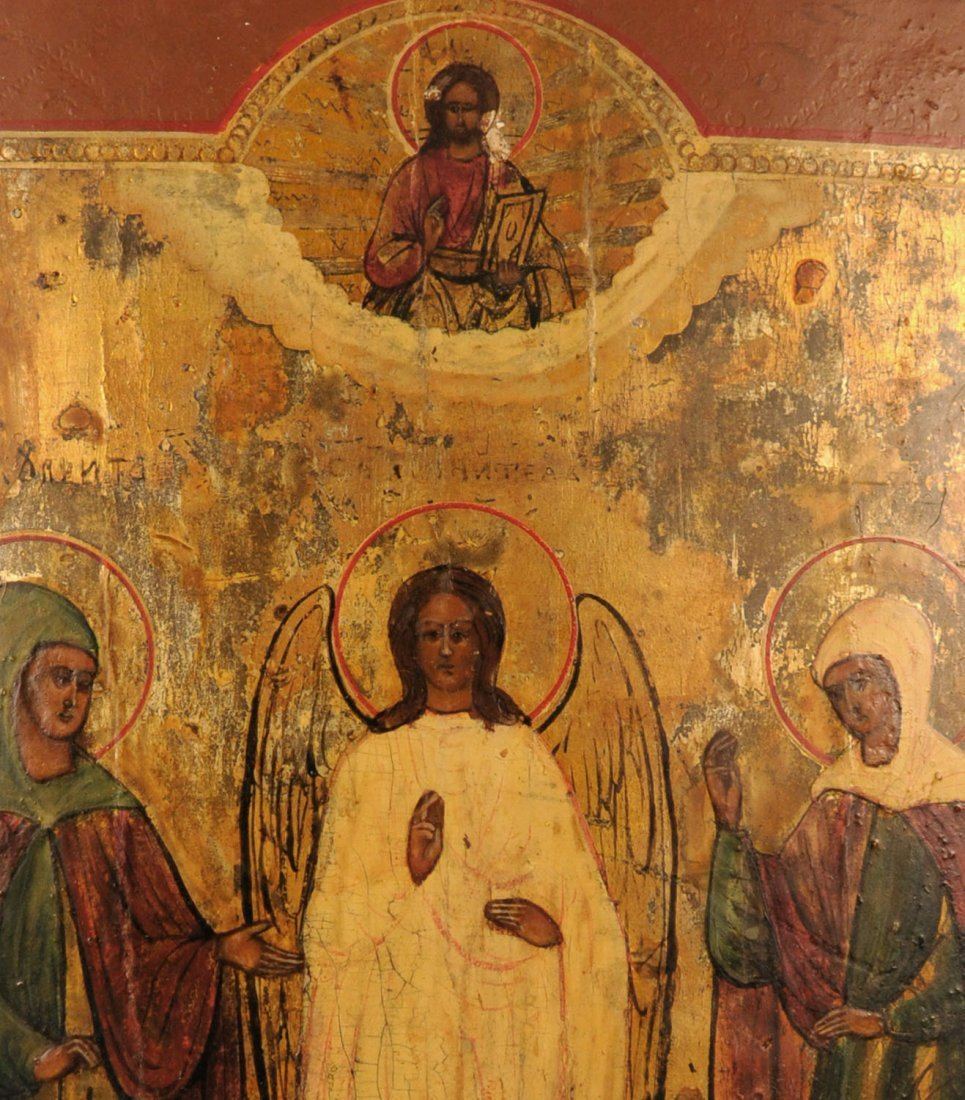 Russian Icon: Guardian Angel and Two Female Saints - 2