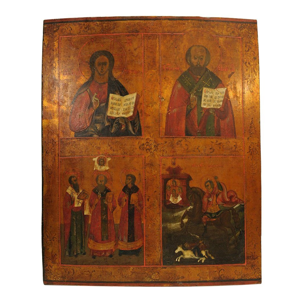 Russian Four Panel Icon: Christ, Saints, and Hierarchs