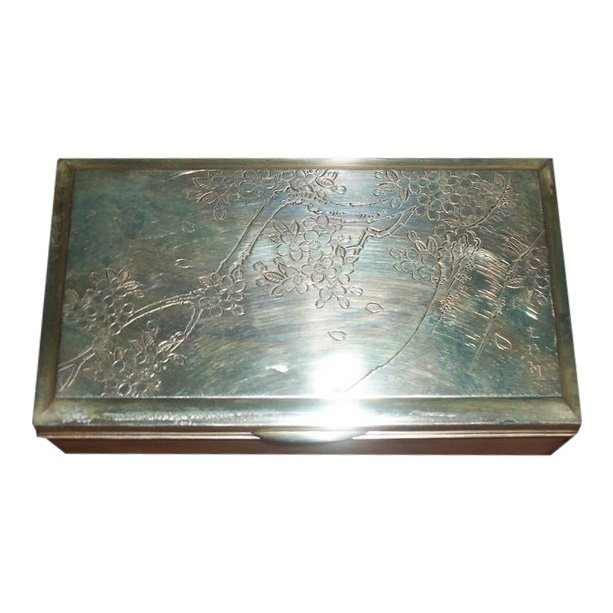 Large Engraved Chinese Export Silver Box