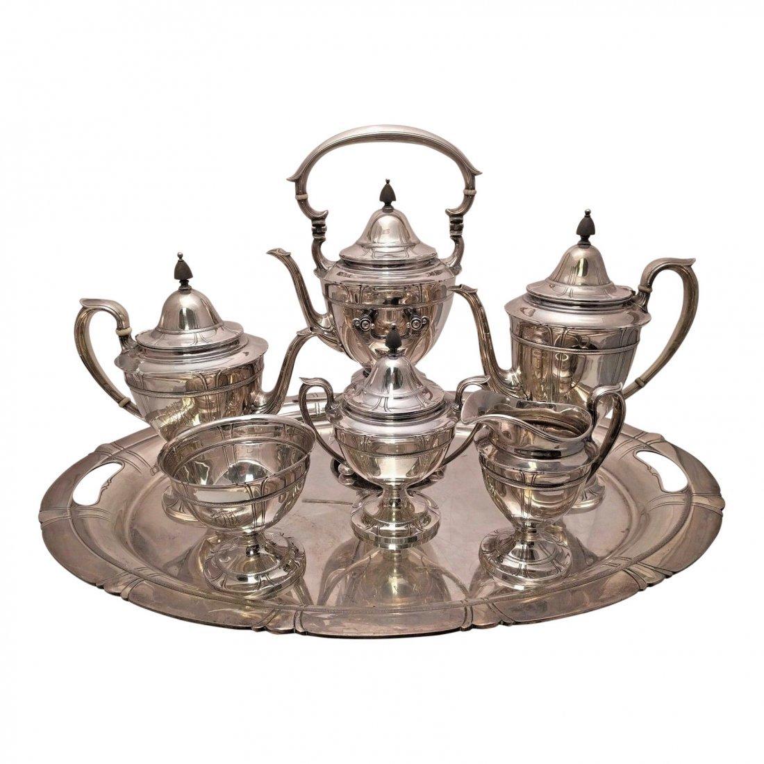 Watson Silver Tea Set Lotus Pattern