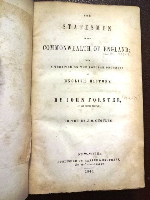 Statesmen of the Commonwealth of England by J. Forster - 2