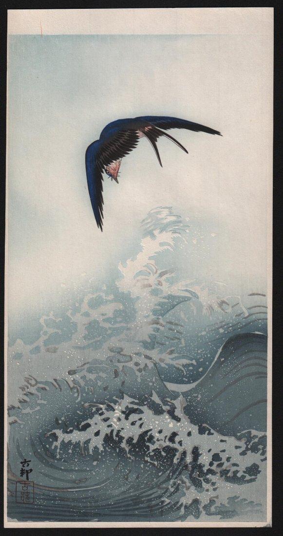 Ohara Koson - Barn Swallow Over Waves