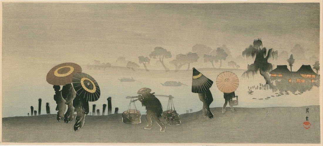 Shoun Yamamoto - Riverside Landscape in Rain