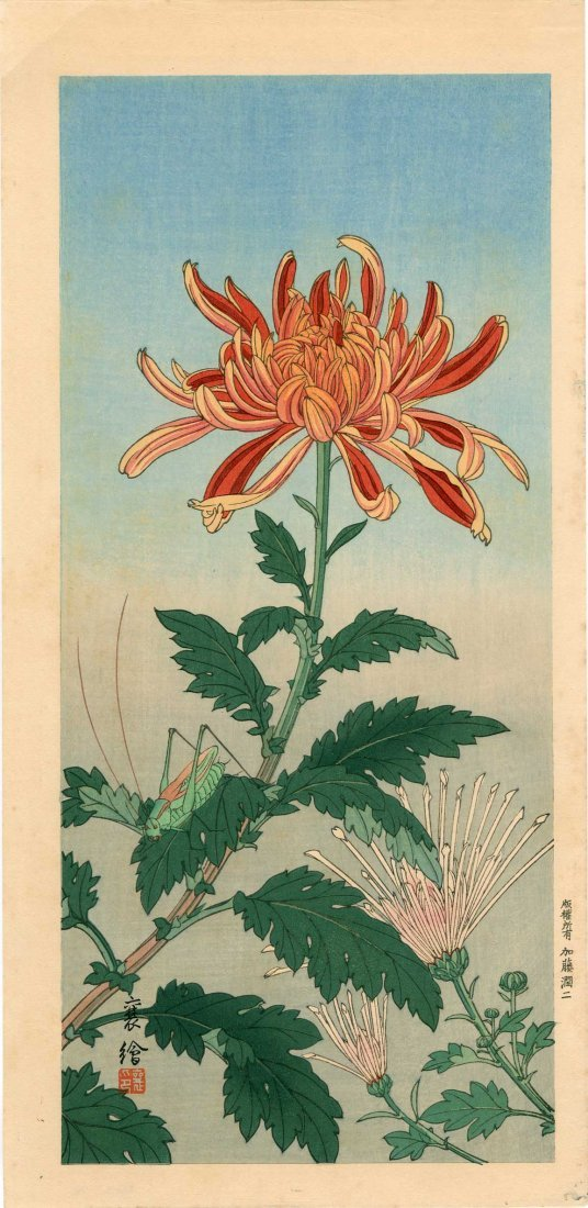Jo Hashimoto - Grasshopper and Chrysanthemum