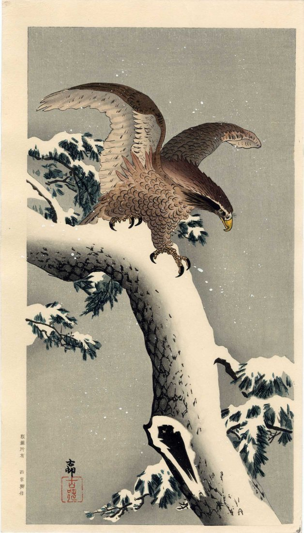 Ohara Koson - Eagle on a Snowy Branch