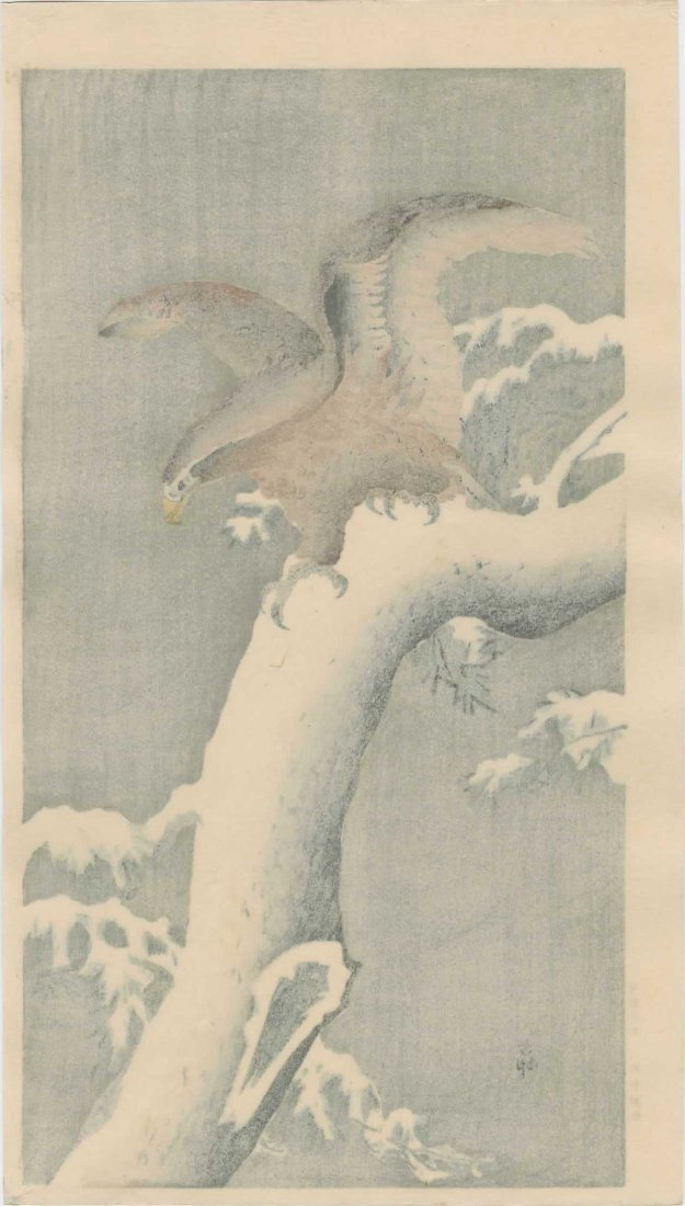 Ohara Koson - Eagle on a Snowy Branch - 2