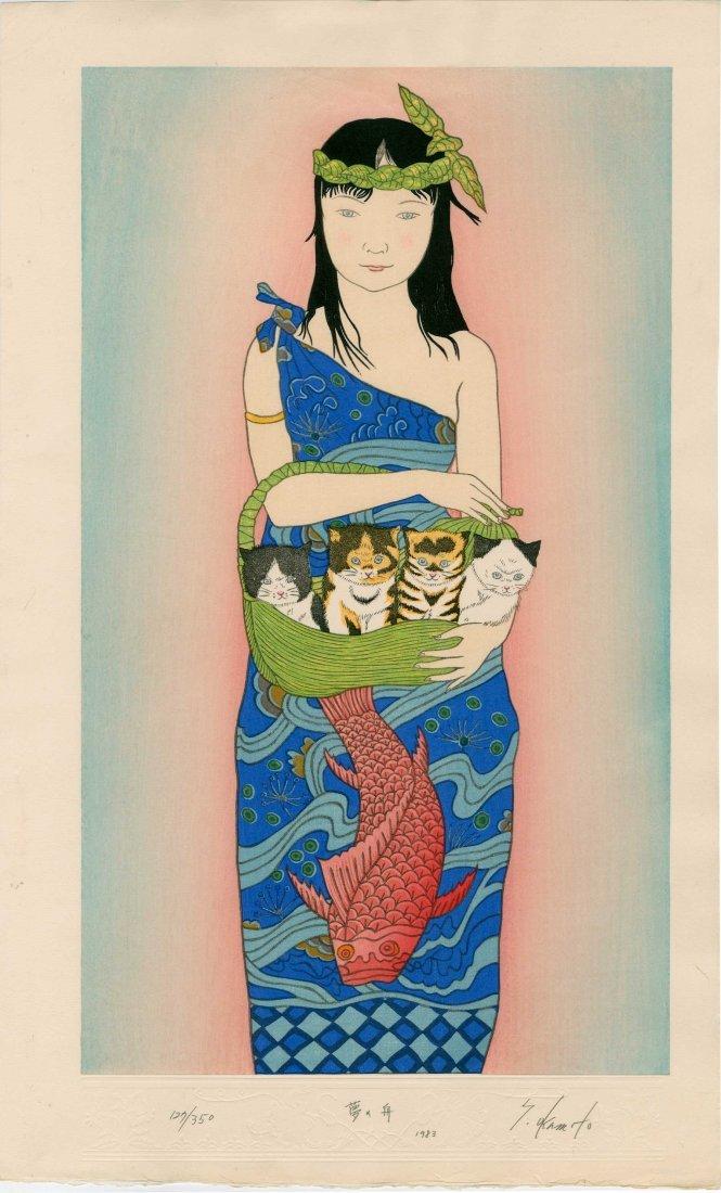 Ryusei Okamoto - Girl with Four Kittens (Boating)
