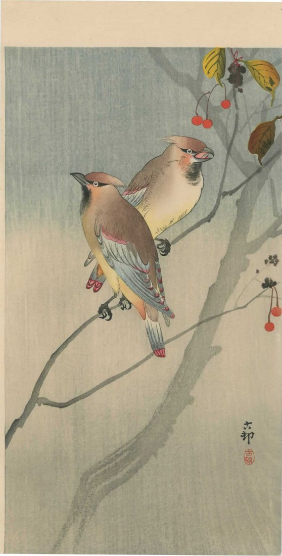 Ohara Koson - Two Waxwings on a Cherry Tree