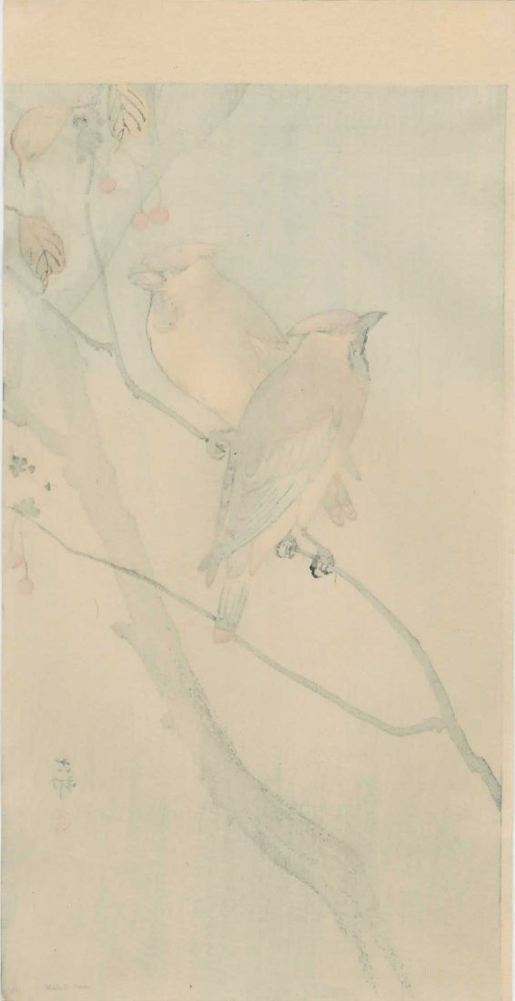 Ohara Koson - Two Waxwings on a Cherry Tree - 2