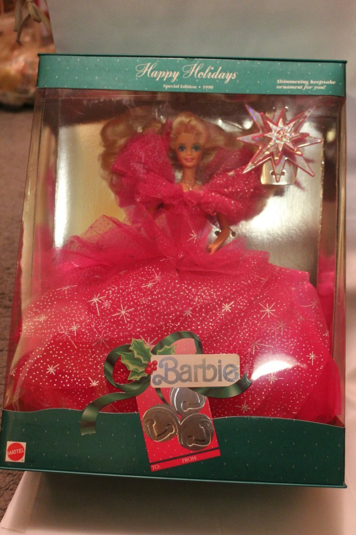 Lot of 2 Happy Holidays Special Edition Barbies, 1990 - 3