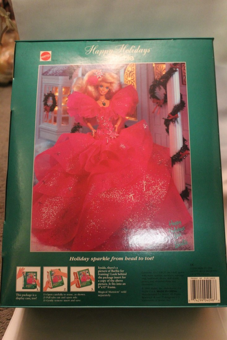 Lot of 2 Happy Holidays Special Edition Barbies, 1990 - 4
