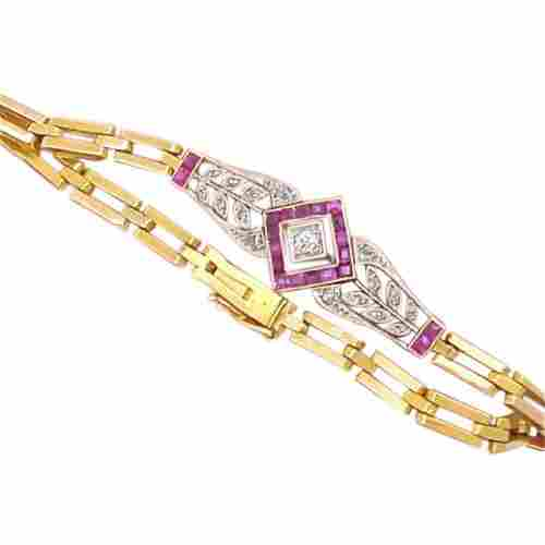 Art Deco Gold & Platinum Diamond Ruby Bracelet, .85ctw