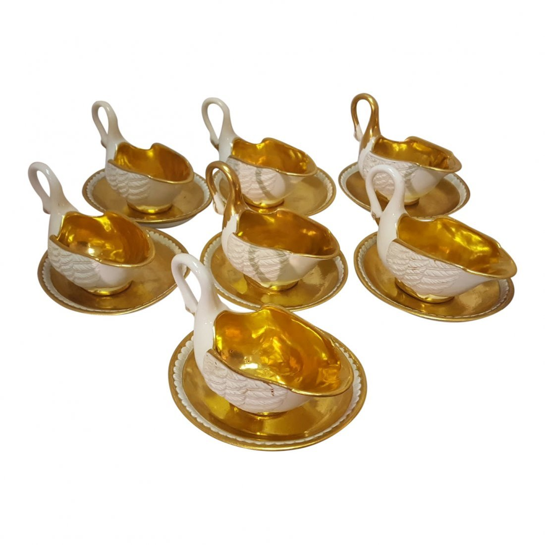 Set of 7 Porcelain Gilded Swan Cups With Saucers, 1810