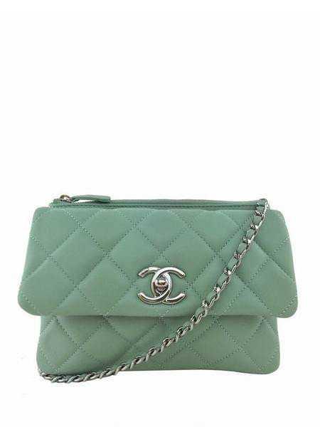 5b7811d2fd6e75 Chanel Quilted Daily Zippy Green Crossbody Flap Bag