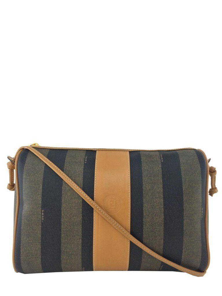 Fendi Vintage Pequin Striped Canvas Shoulder Bag