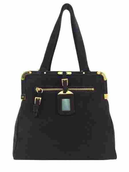 Prada Suede Framed Satchel Bag