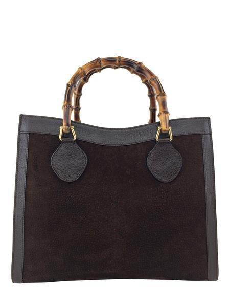 Gucci Vintage Suede Bamboo Top Handle Tote Bag