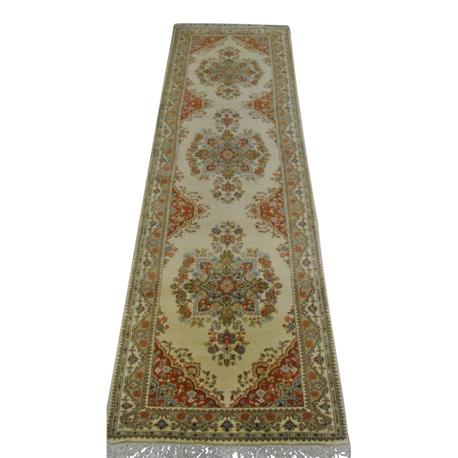 Ardabil Design Wool Runner Rug, 3x11