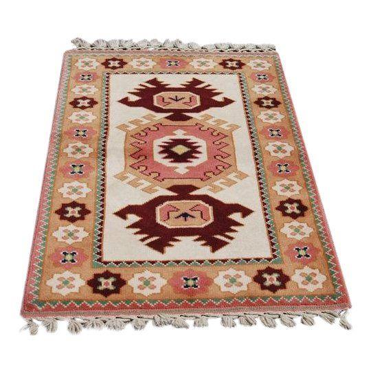 Turkish Konya Wool Rug, 2.11 x 4.4 feet